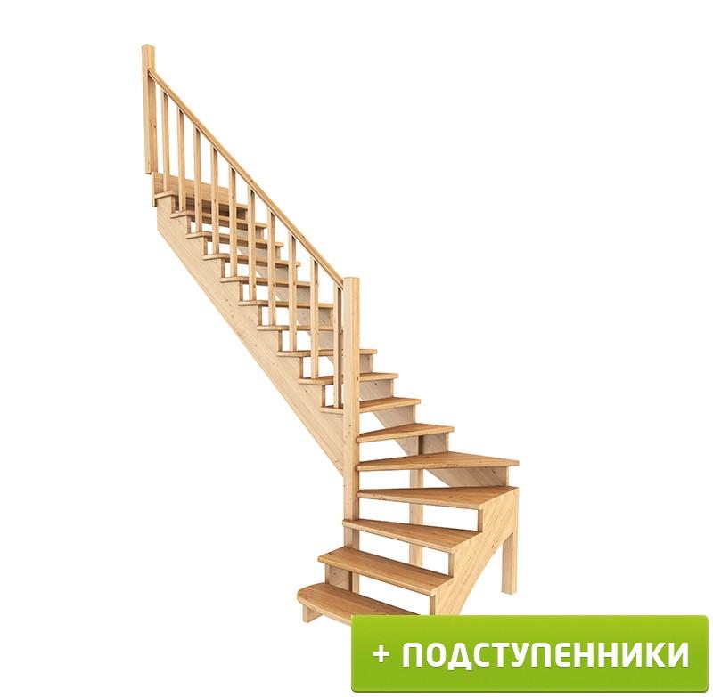 Лестница   К-001м/5  Л c подступенками сосна (6 уп)