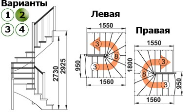 Лестница  К-003м/2  П  сосна (5 уп)